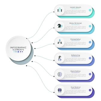 Sechs papierweiße abgerundete elemente, optionen oder merkmale, die durch linien mit dem hauptkreis verbunden sind. modernes infografik-design-layout. vektorillustration für geschäftspräsentation, broschüre, bericht.