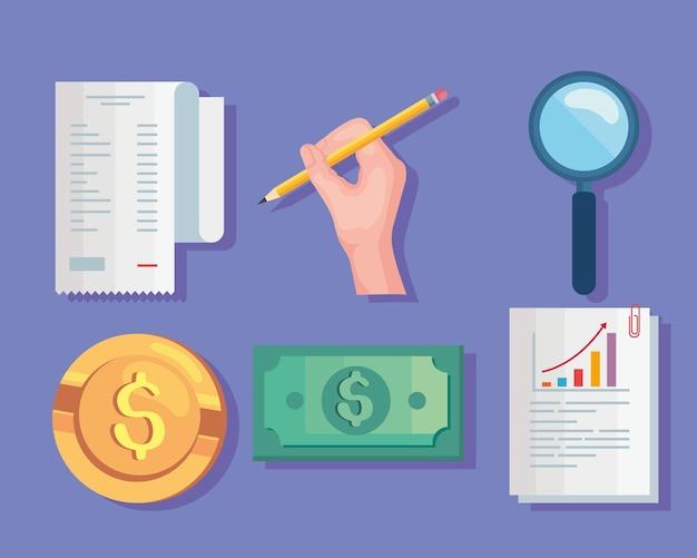 Sechs persönliche finanzsymbole