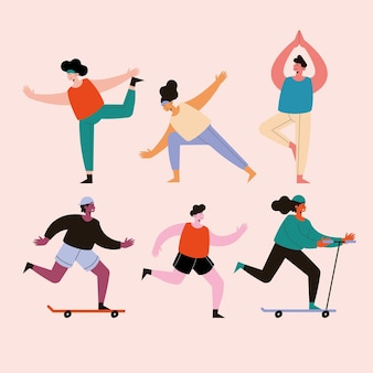 Sechs personen, die sportfiguren praktizieren