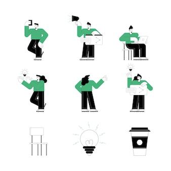 Sechs personen, die technologiezeichen verwenden