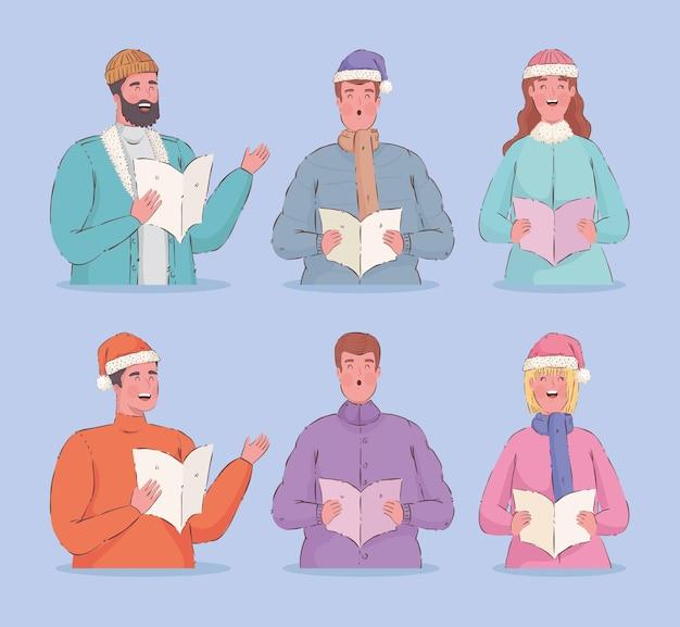 Sechs personen singen weihnachtslieder