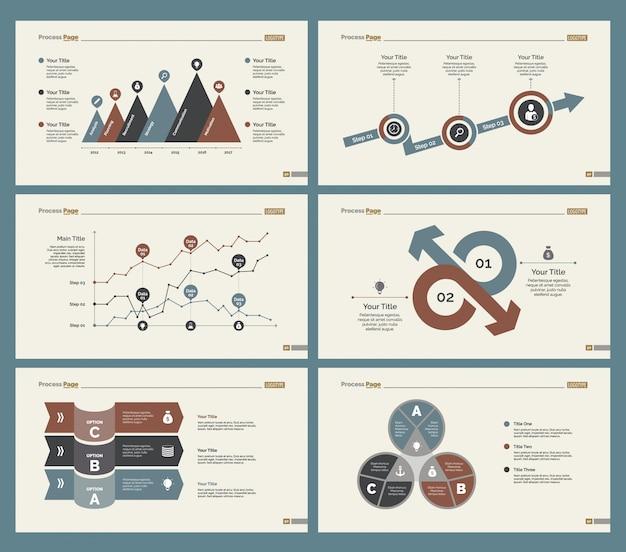Sechs planungsdiagramme folienvorlagen set