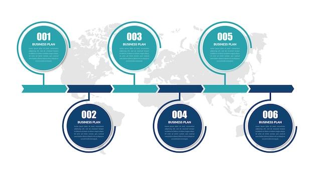 Sechs-punkte-geschäftsstrategie für abstrakte infografik-elemente