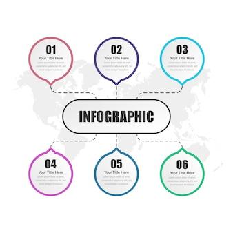 Sechs-punkte-infografik-element-geschäftsstrategie mit nummer