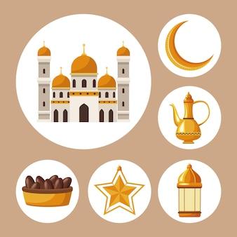 Sechs ramadan-kareem-elemente