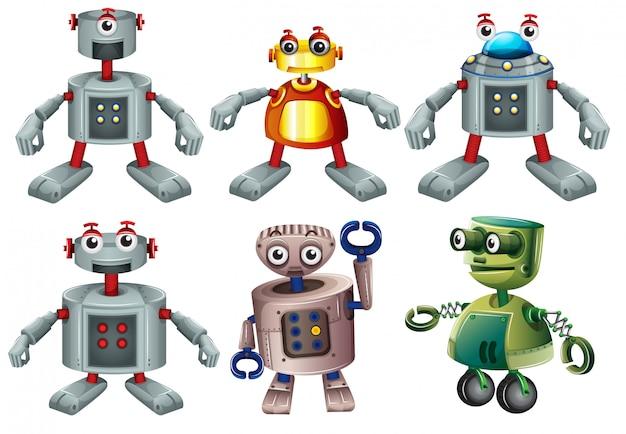 Sechs roboter