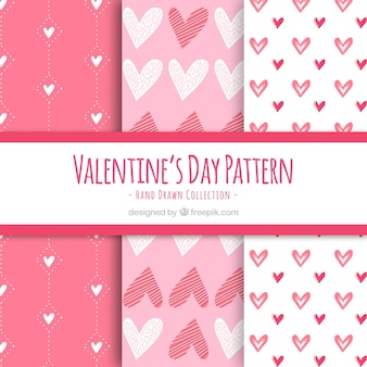 Sechs rosa valentinsgrußtagesmuster