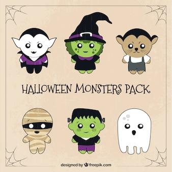Sechs satz von niedlichen halloween-zeichen