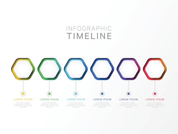 Sechs schritte 3d infographik vorlage mit sechseckigen elementen.