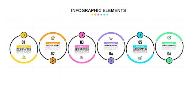Sechs schritte business-infografik.