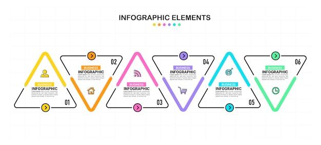 Sechs schritte business-infografiken Premium Vektoren