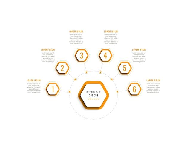 Sechs schritte horizontale infografik-vorlage mit orangefarbenen sechseckigen elementen auf weißem hintergrund