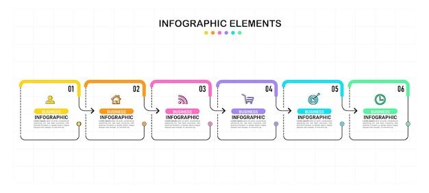 Sechs schritte infografik elementvorlage