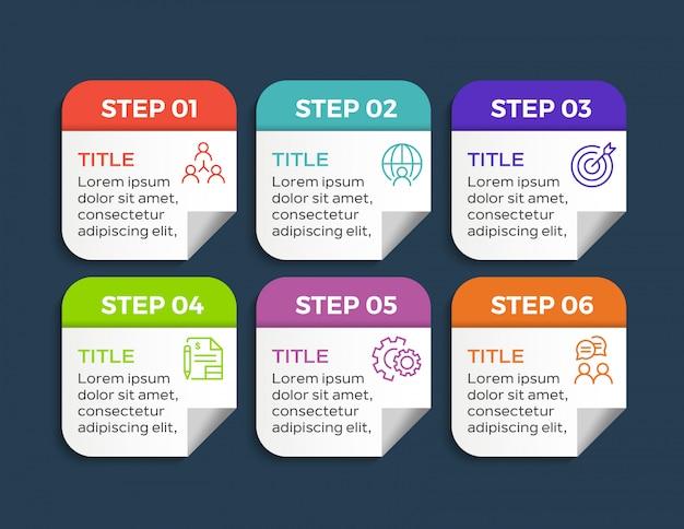 Sechs schritte infografik