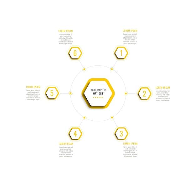 Sechs schritte kreisförmige infografik-vorlage mit gelben sechseckigen elementen auf weißem hintergrund