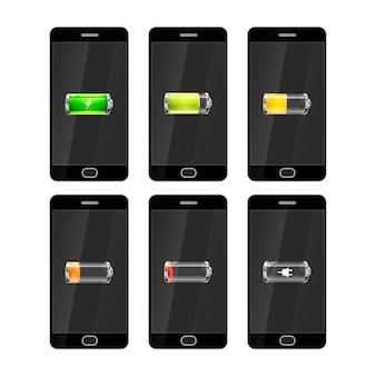 Sechs schwarze smartphones mit glänzenden batterien symbole