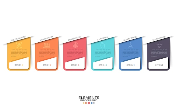 Sechs separate bunte rechteckige elemente mit linearen symbolen und platz für text im inneren. konzept des web-dropdown-menüs mit 6 optionen. infografik-design-vorlage. vektorillustration für website.
