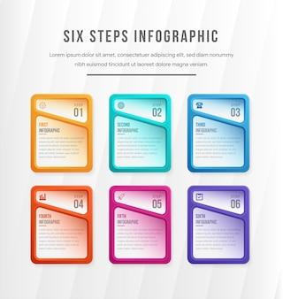 Sechs separate mehrfarbige rechteckige elemente mit zahlen, dünner linie und platz für text. konzept von 6 geschäftsoptionen zur auswahl.