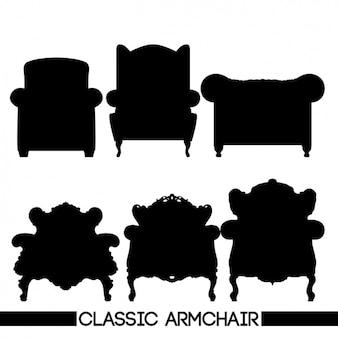 Sechs silhouetten von stühlen