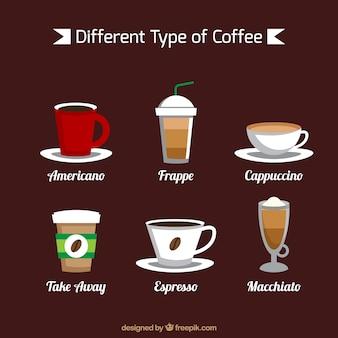 Sechs sorten von kaffee