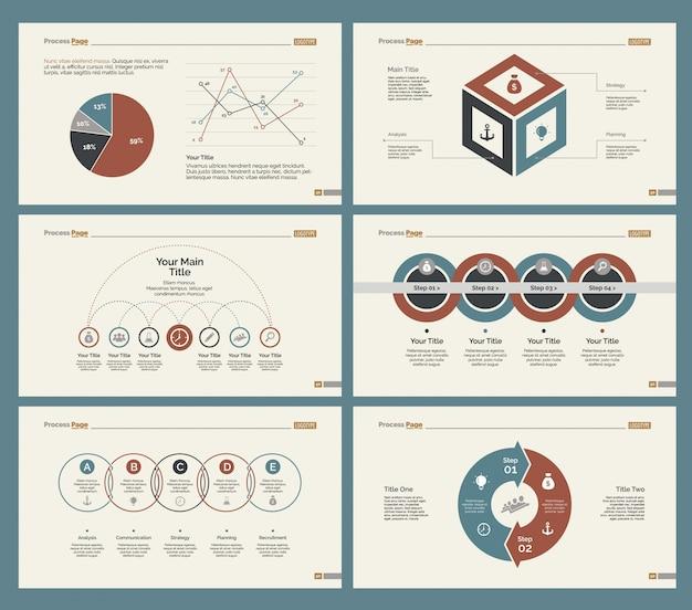 Sechs strategie-diagramme folienvorlagen gesetzt