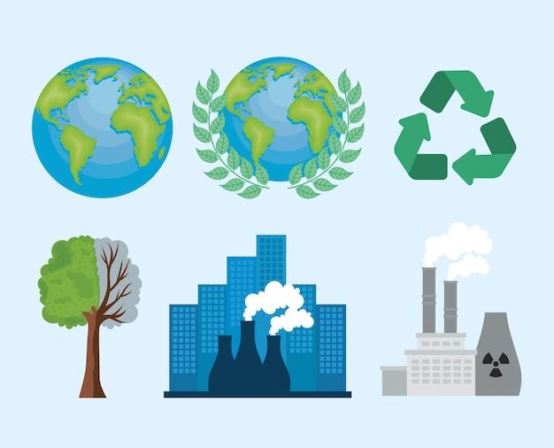 Sechs symbole für die globale erwärmung