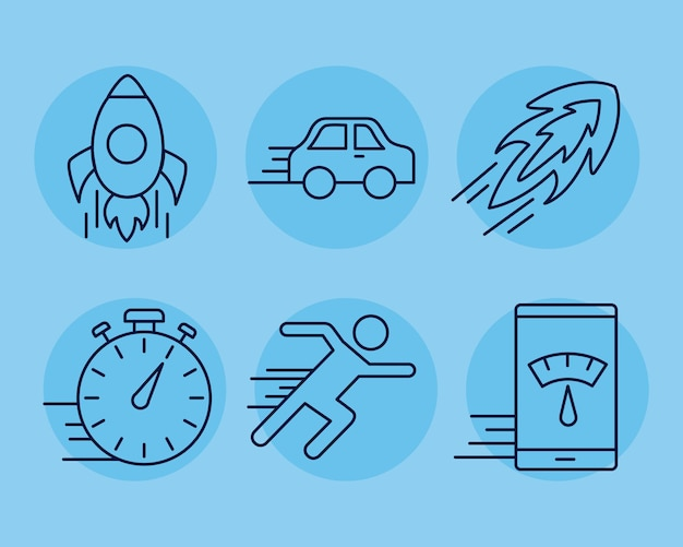 Sechs symbole im stil der geschwindigkeitslinie