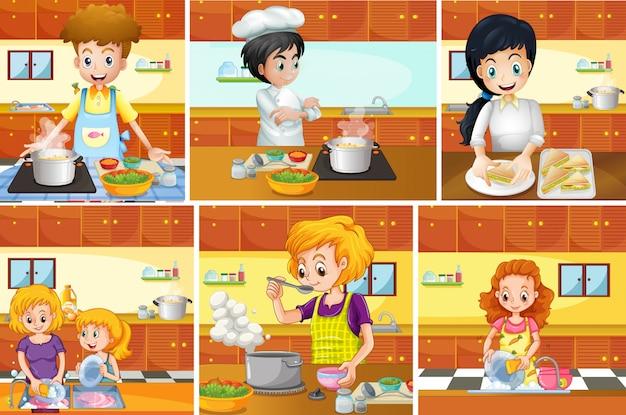 Sechs szenen, in denen menschen in der küche kochen