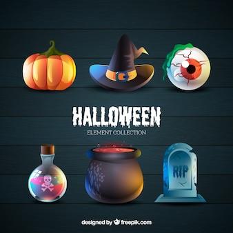 Sechs typische attribute von halloween
