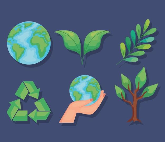 Sechs umweltfreundliche symbole