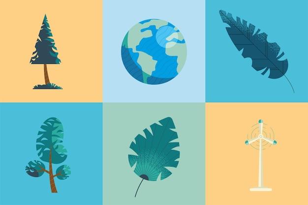 Sechs umweltnatursymbole