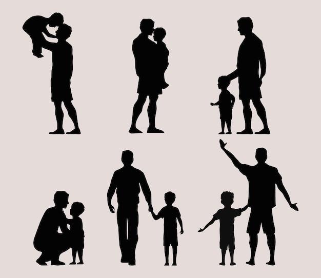 Sechs väter silhouetten father