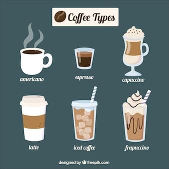 Sechs verschiedene kaffeesorten