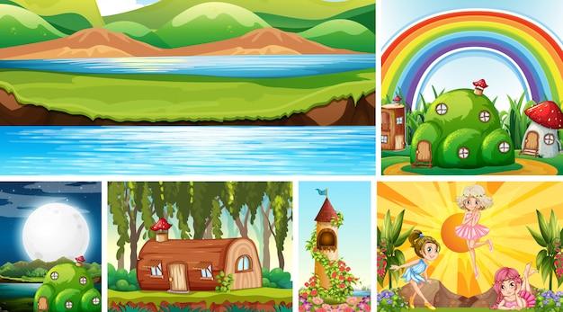 Sechs verschiedene szenen der fantasiewelt mit fantasiestellen und naturszene