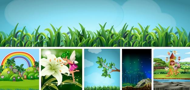 Sechs verschiedene szenen der natur-fantasiewelt mit schönen feen im märchen