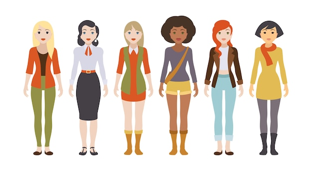 Sechs verschiedene weibliche charaktere