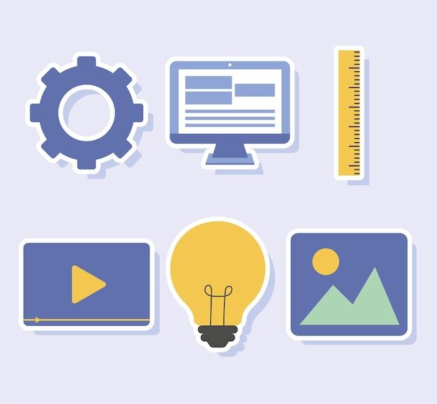 Sechs webdesign-symbole