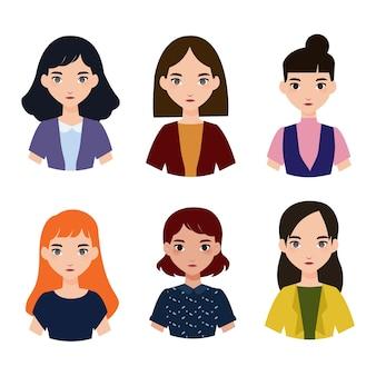 Sechs weibliche avatare