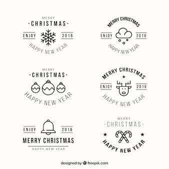 Sechs weihnachtsabzeichen