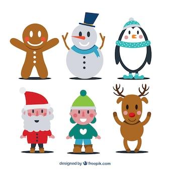 Sechs weihnachtsfiguren im flachen stil