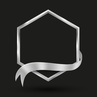 Sechseck-banner mit silberband-vektorillustration für werbe- und präsentationshintergrund