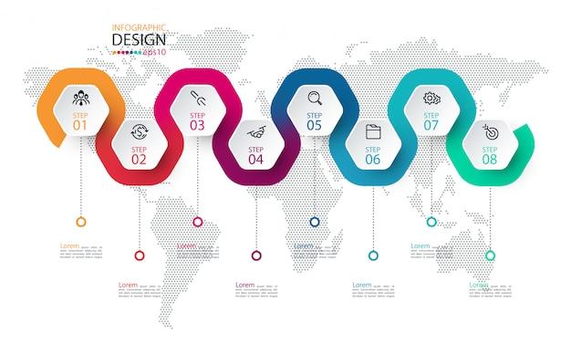 Sechseck-etikett mit farbigen linien verknüpften infografiken.