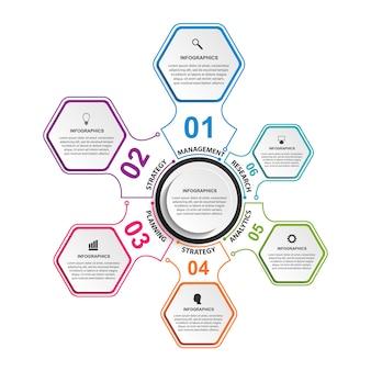 Sechseck optionen infografiken elemente