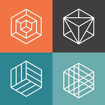 Sechseck-vektorlogos im linearen umrissstil. logo sechseck, abstraktes sechseck, geometrische logo sechseck illustration