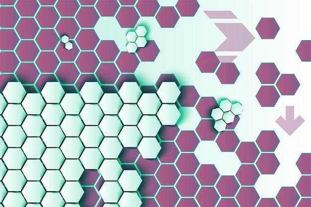 Sechsecke und pfeile vektor hintergrund. 3d weiße wabenstruktur auf lila sechseckigem hintergrund