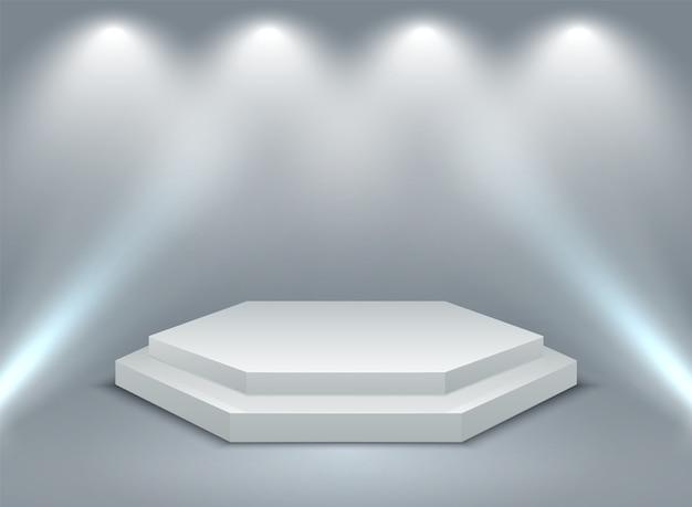 Sechseckig beleuchtetes podium
