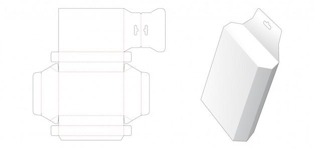 Sechseckige box mit gestanzter hängelochschablone