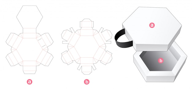 Sechseckige box und deckel mit gestanzter bandschablone