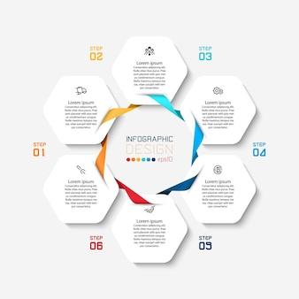 Sechseckige formen werden mit neuen ideen gemischt, die zur analyse von arbeitsprozessen verwendet werden