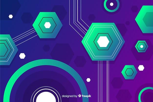 Sechseckige geometrische formen hintergrund mit farbverlauf